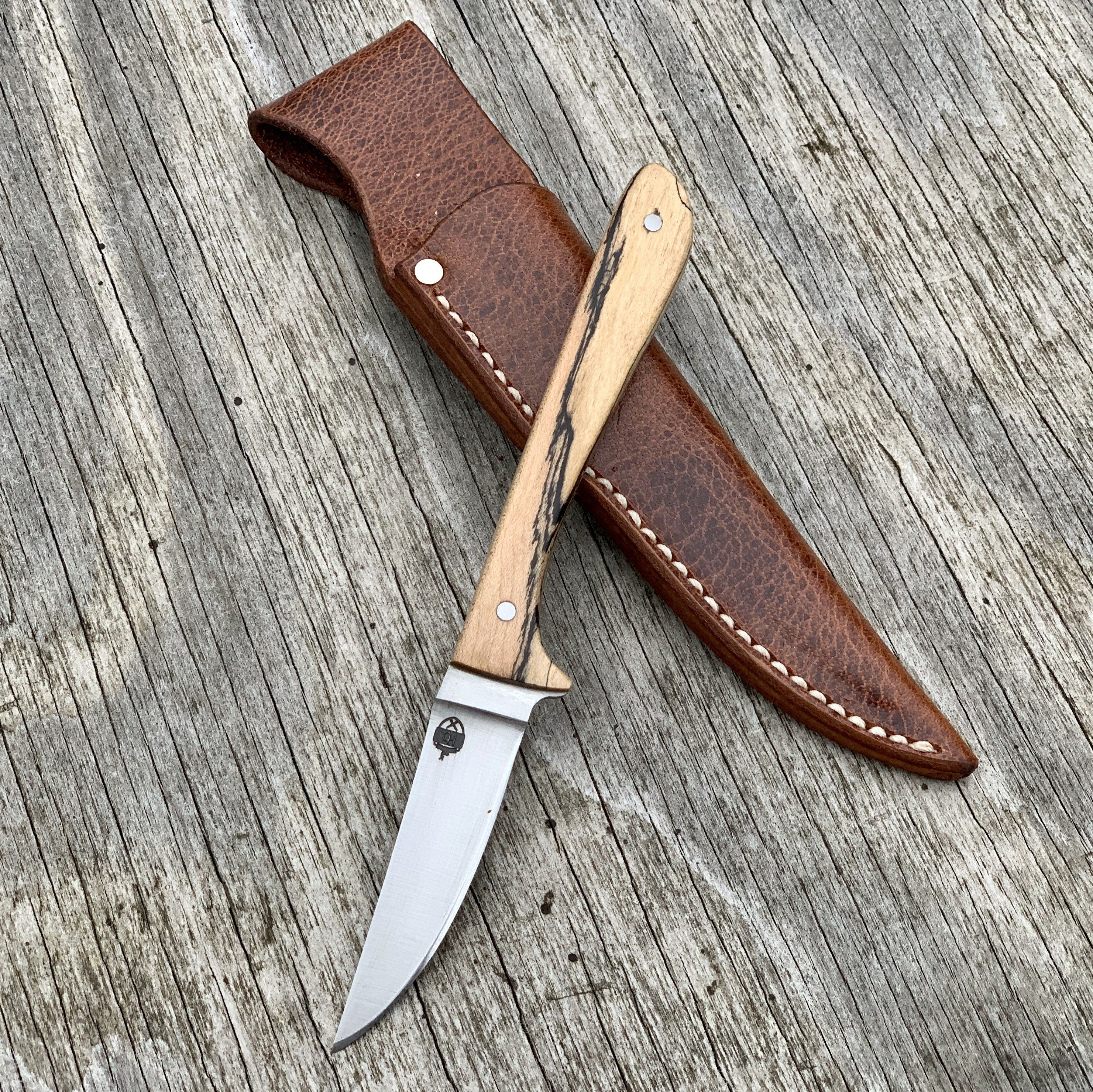 Hunting Knife Full Tang With 1095 High Carbon Steel Blade Stabilized Spalted Maple Handle And Custom Amish Made Leather Sheath By Heirloo