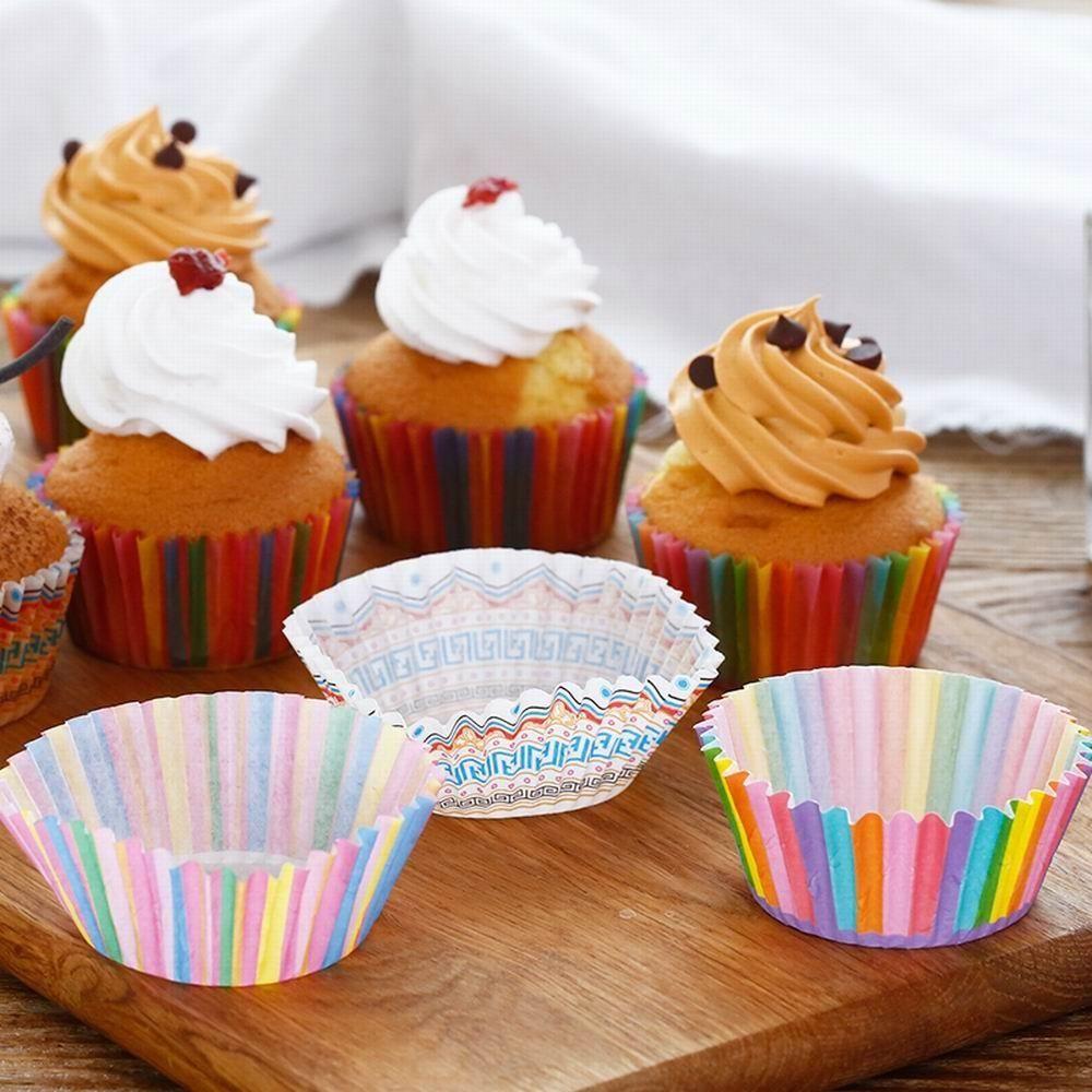 100pcs Colorful Rainbow Paper Cake Cupcake Liner Baking Muffin Box
