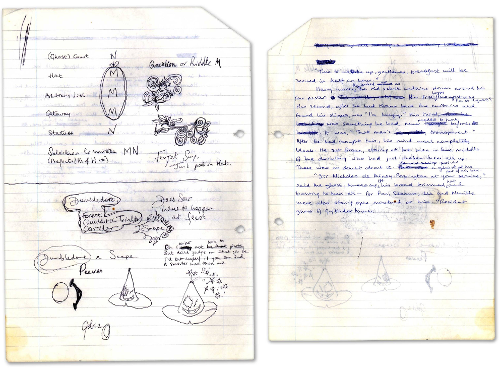 Handwritten Notes On Deciding On A Sorting Hat Early 1990s Hd On The Page Of Notes Where Rowling History Of Magic A History Of Magic Harry Potter Hermione