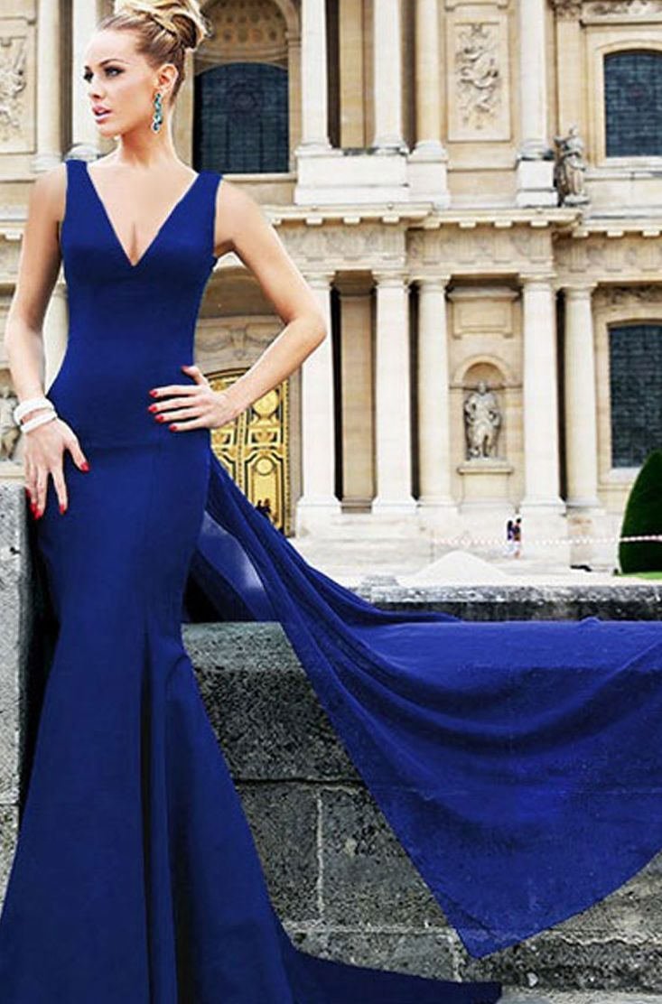 Long dresses to wear to a wedding  Royal Blue Cross Back Long Mermaid  Mermaids Collars and Royals