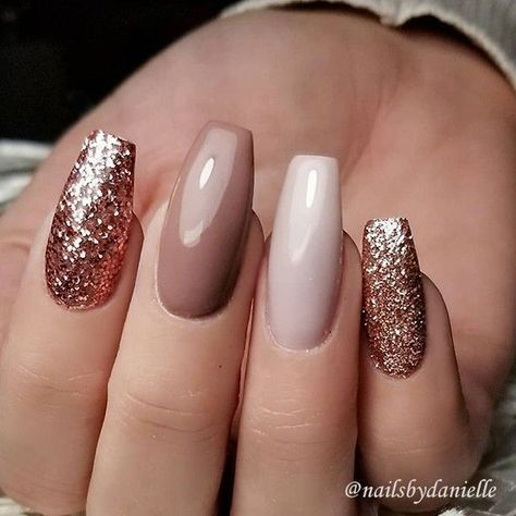 Repost Rose Gold Glitter Caramel And Ivory On Coffin Nails Picture Nail Design By Nailsbydanielle Follow Her For More Gorgeous Art