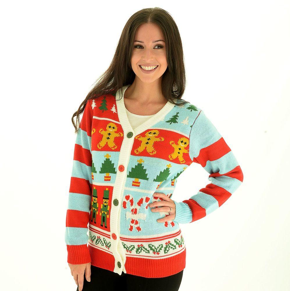Candy Cane Christmas Jumper Sweater Cardigan.The bright and ...