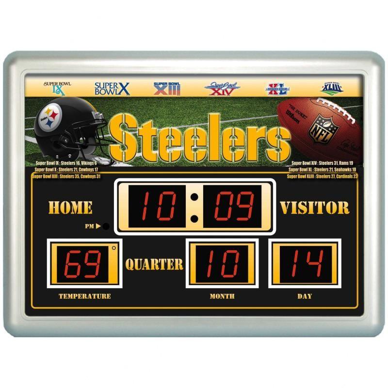 Pittsburgh Steelers Scoreboard Digital Wall Clock w/ Temp