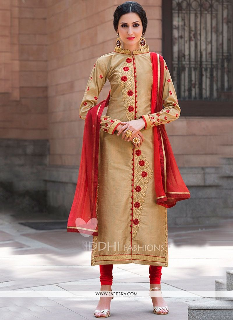 d659ce49c4 Real elegance will come out of your dressing style with this beige and red  banarasi silk churidar designer suit. The desirable embroidered and resham  work a ...