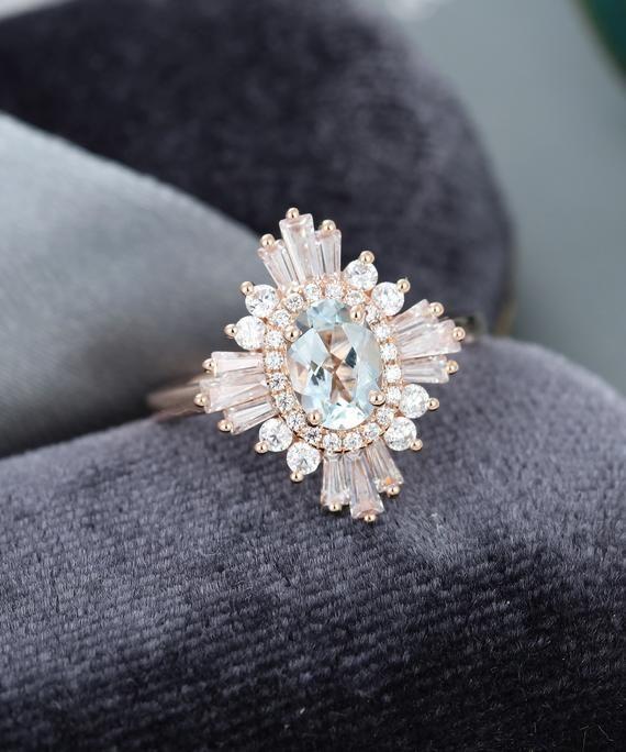 Aquamarine engagement ring Rose gold art deco engagement ring vintage Halo Diamond Oval cut Antique baguette Anniversary gift for women #aquamarineengagementring