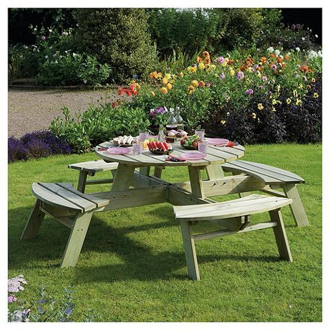 Astonishing Buy Rowlinson Wooden Garden Picnic Table Round From Our Ocoug Best Dining Table And Chair Ideas Images Ocougorg