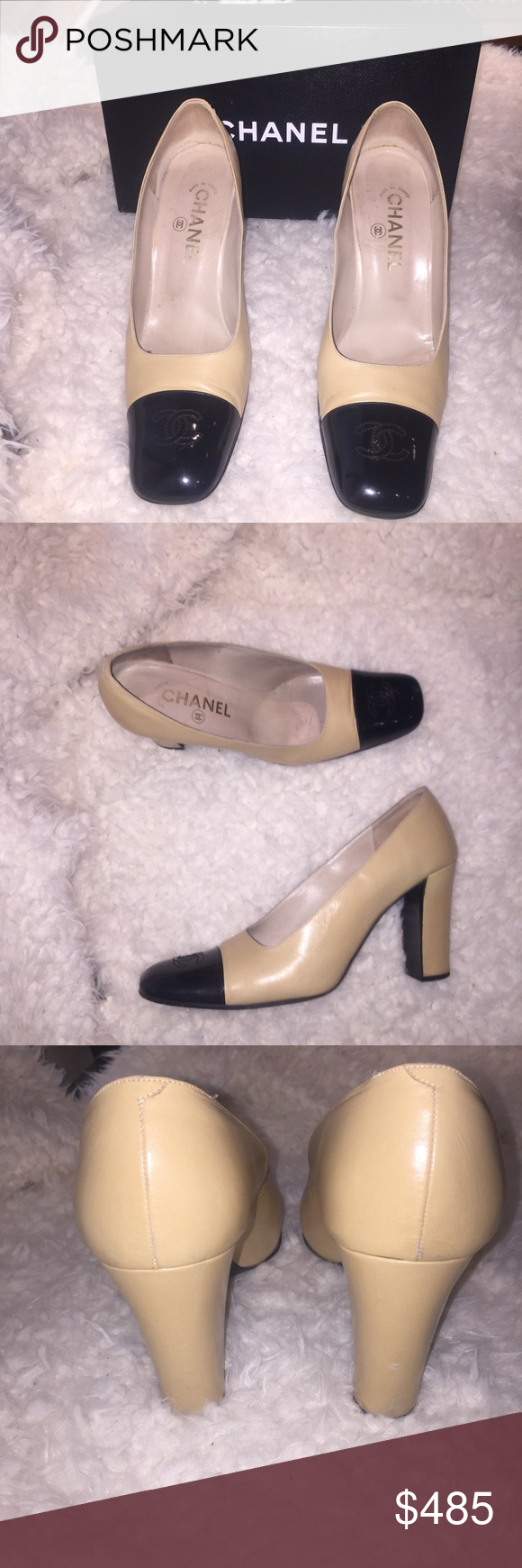 ab49a4a7ca0 ⭐SALE⭐Authentic Chanel two-tone pump Classic. Used but in very ...