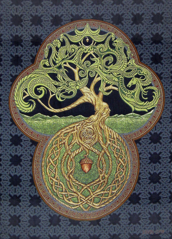 Celtic Tree Of Life 25 X 35 Woven Tapestry Irish Scottish