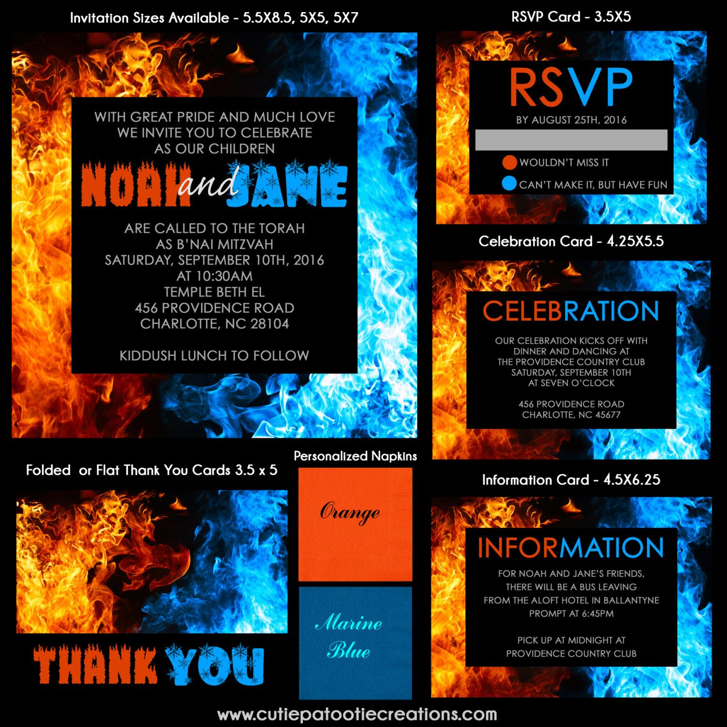 Fire and Ice Bnai Mitzvah Invitation by OneWhimsyChick on Etsy