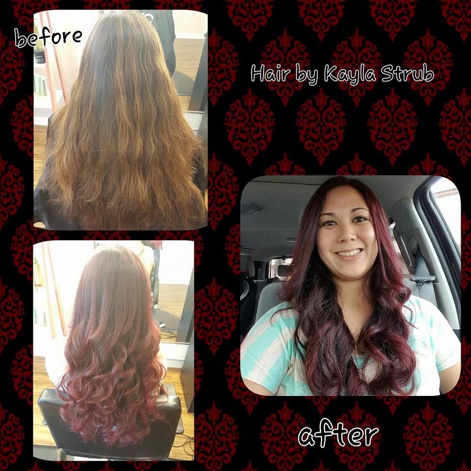 Before And After Hair Color Merlot Long Curls Lavish Bronzing