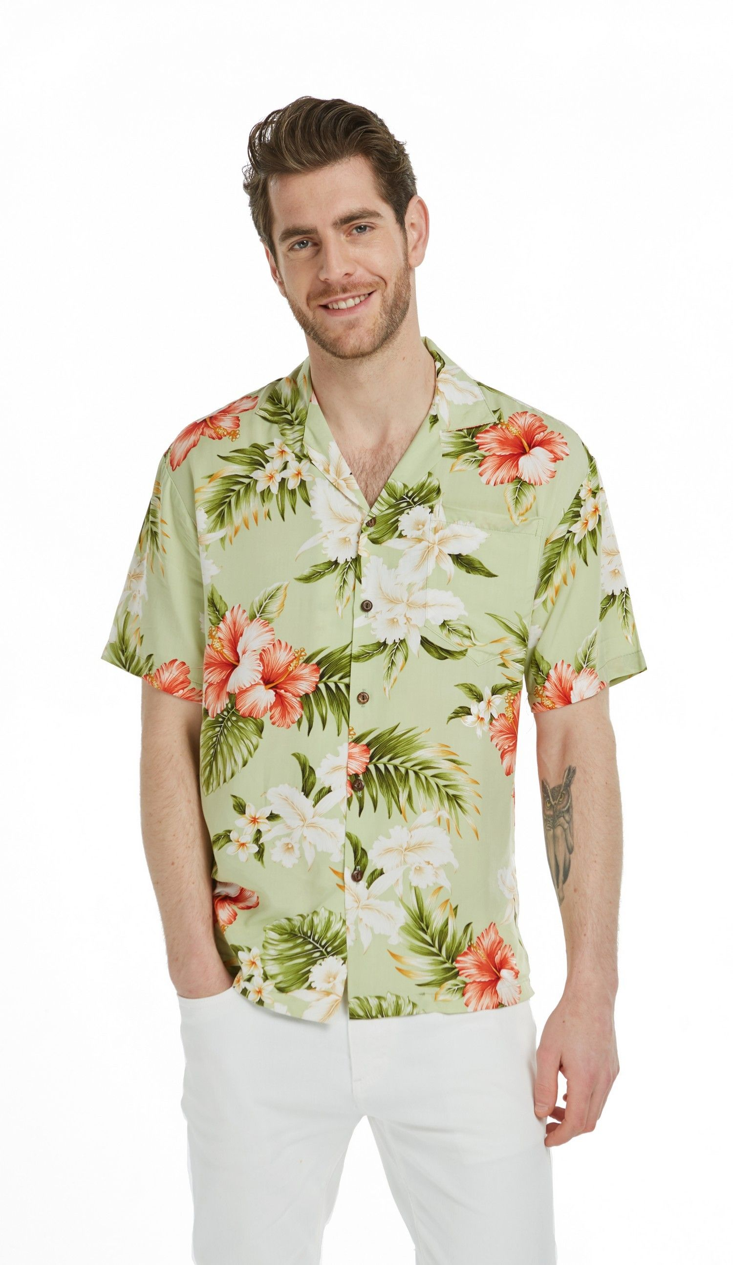 4f953c8a Premium Made in Hawaii Men's Hawaiian Aloha Shirt in Red Hibiscus Olive