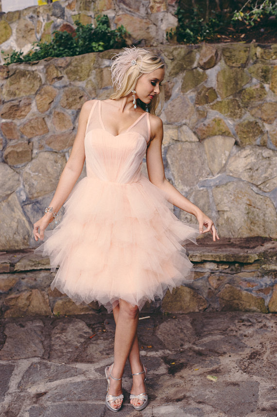 Carrie Short Wedding Dress Repception Garden Peach Pink