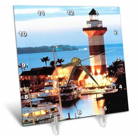 3dRose Harbour Town Lighthouse at Hilton Head Island at Dusk, Desk Clock, 6 by 6-inch