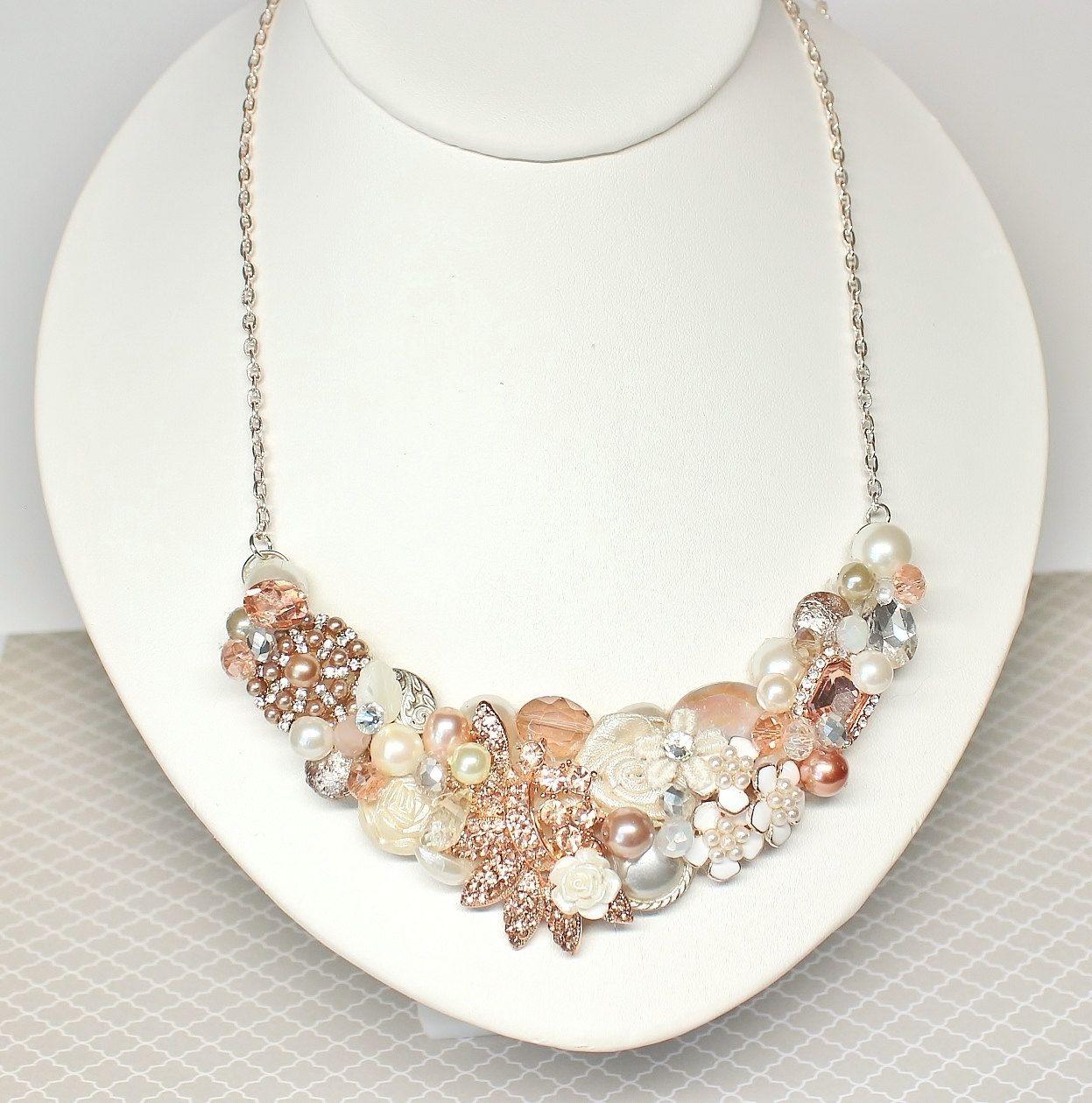 Rose Gold Bridal Bib-Blush Statement Necklace-Rose Gold Necklace ...