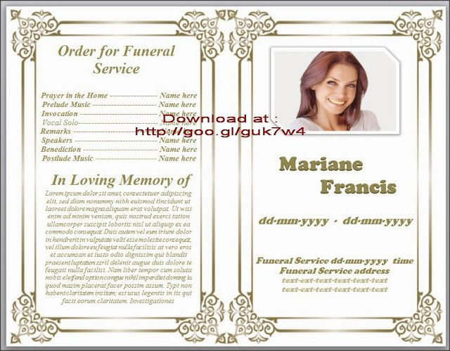 Obituary Template For Funeral In Microsoft Word Obituary Program   Funeral  Service Program Template Word  Free Memorial Template