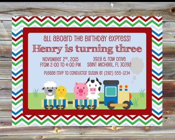 Train Theme Birthday Invitation