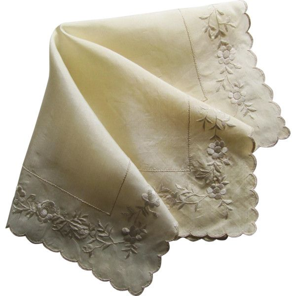 1920's Ivory Silk Wedding Handkerchief Embroidered with Roses. ❤ liked on Polyvore featuring accessories, scarves, bridal handkerchief, 1920s shawl, embroidery handkerchief, ivory bridal shawl and embroidered scarves