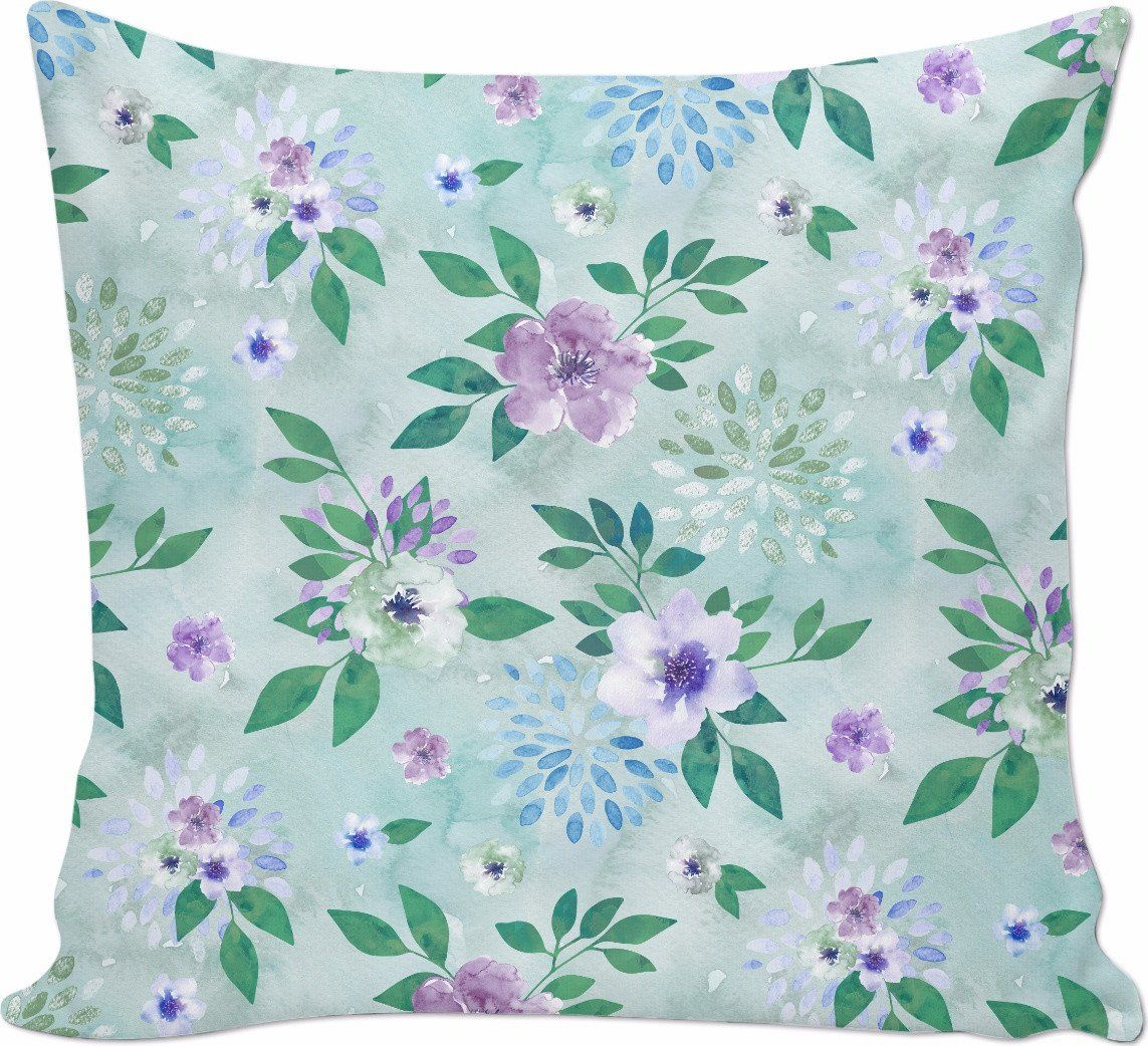 Watercolor spring flowers pattern cyan lilac spring flowers