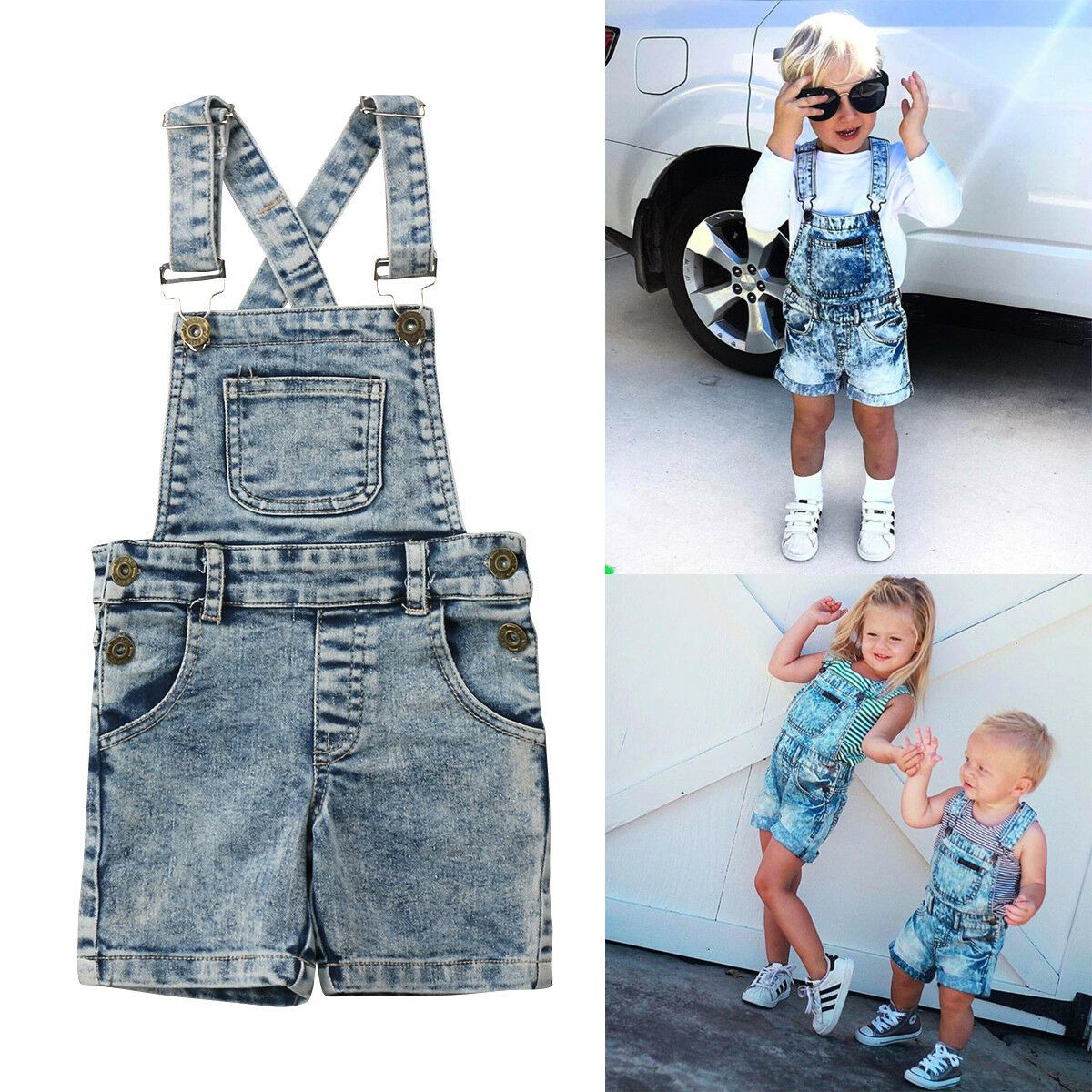 1Set Kids Baby Boy Toddler Romper T-shirt+Bib Pants Overalls Clothes Outfit Cute