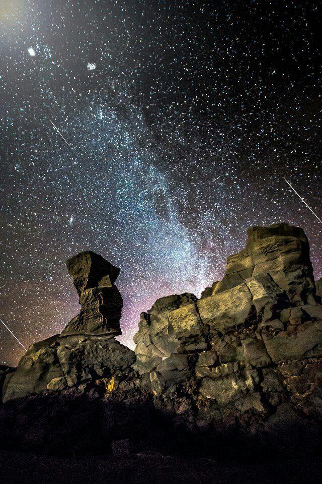 Meteor shower shot in Iceland