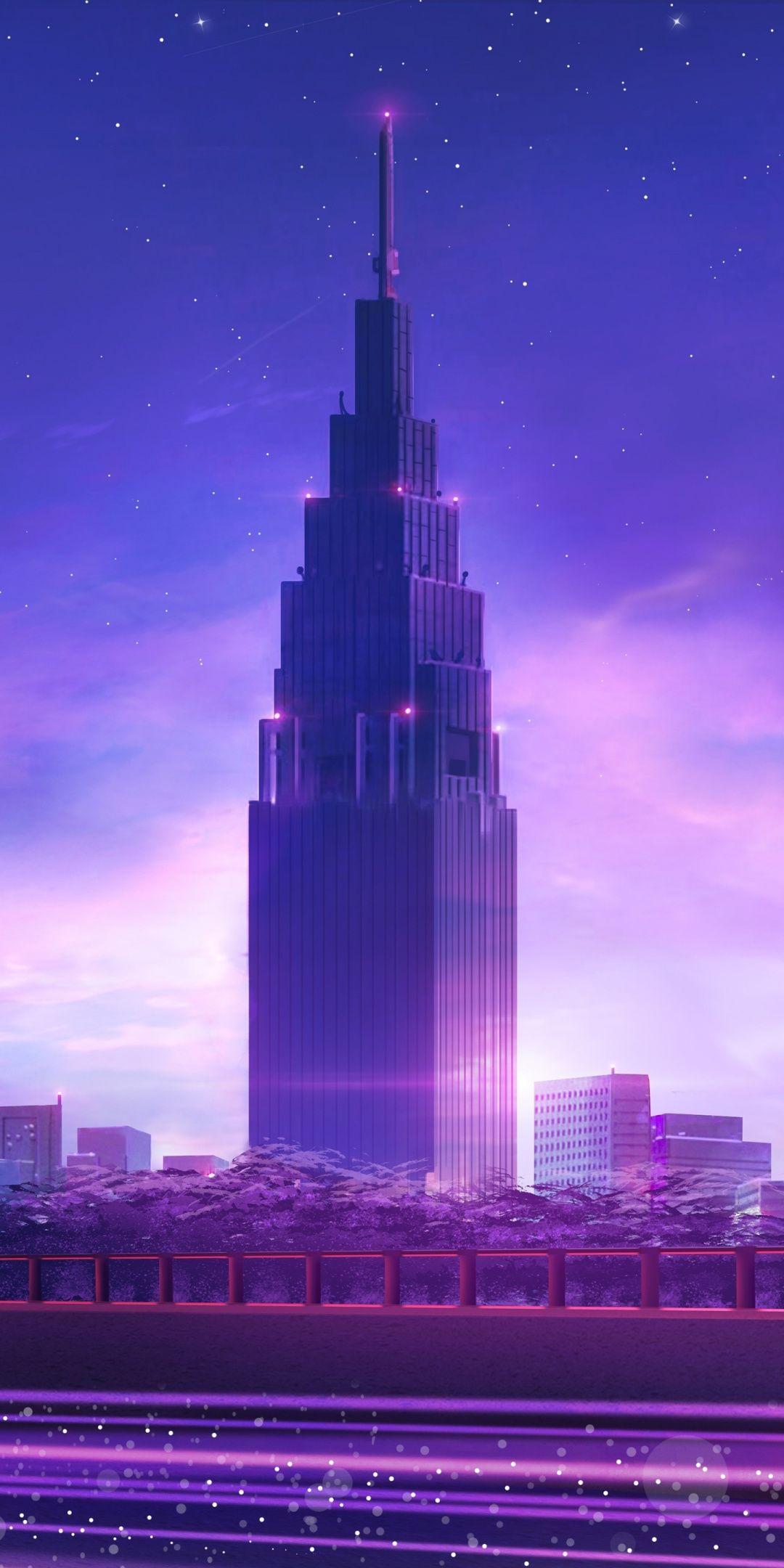Cityscape, modern tower, city, neon, 1080x2160 wallpaper