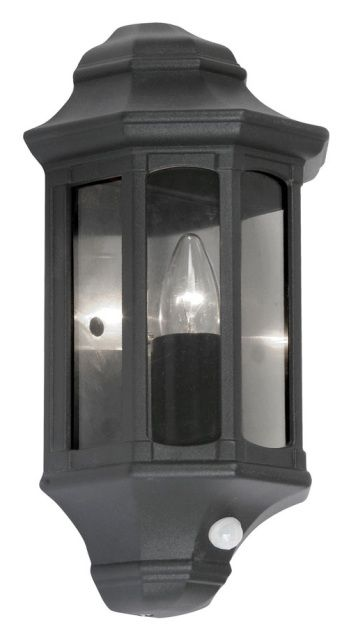 Lights The Oaks Westminster Black Half Wall Lantern With PIR Has Tinted Polycarbonate Panels Traditional Design