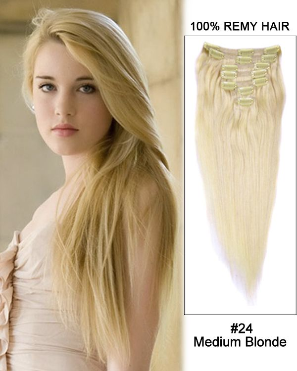 16 Inch 10pcs Straight Indian Clip In Remy Hair Extensions 24