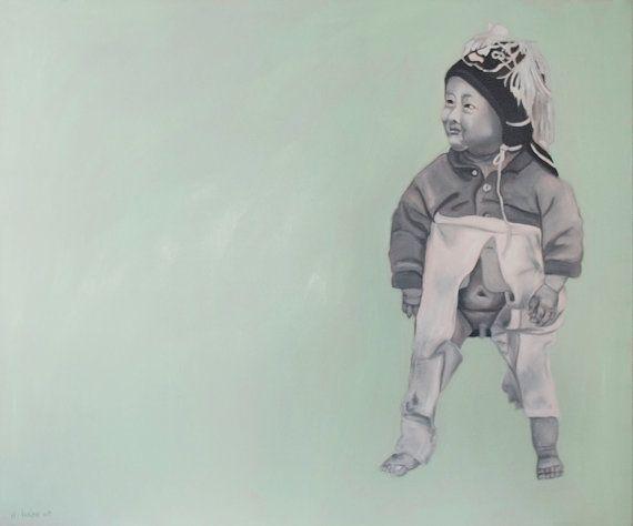 Unikat, zeitgenössisches chinesisches Ölbild, 120x100cm ,traditionell gekleidetes Baby, Junge, Pastell, Öl auf Leinwand.  via Etsy.