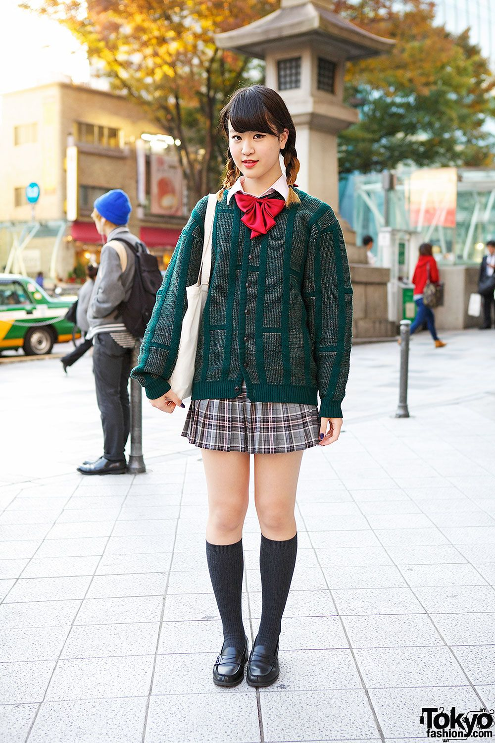 Cute 17 Year Old Girls harajuku girl in plaid skirt, green cardigan, loafers & red bow