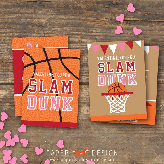 Valentines Day Basketball Card Set Printables Kids – Basketball Valentine Cards
