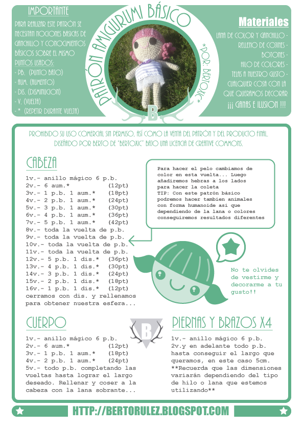 Bertorulez: Patrón amigurumi GRATUITO | baby doll | Pinterest ...