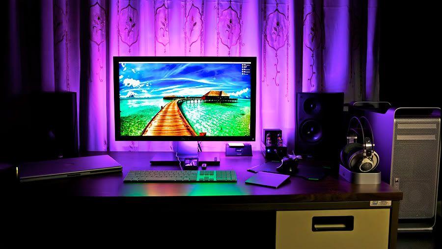 Dramatic external monitor backlighting in fun colors!