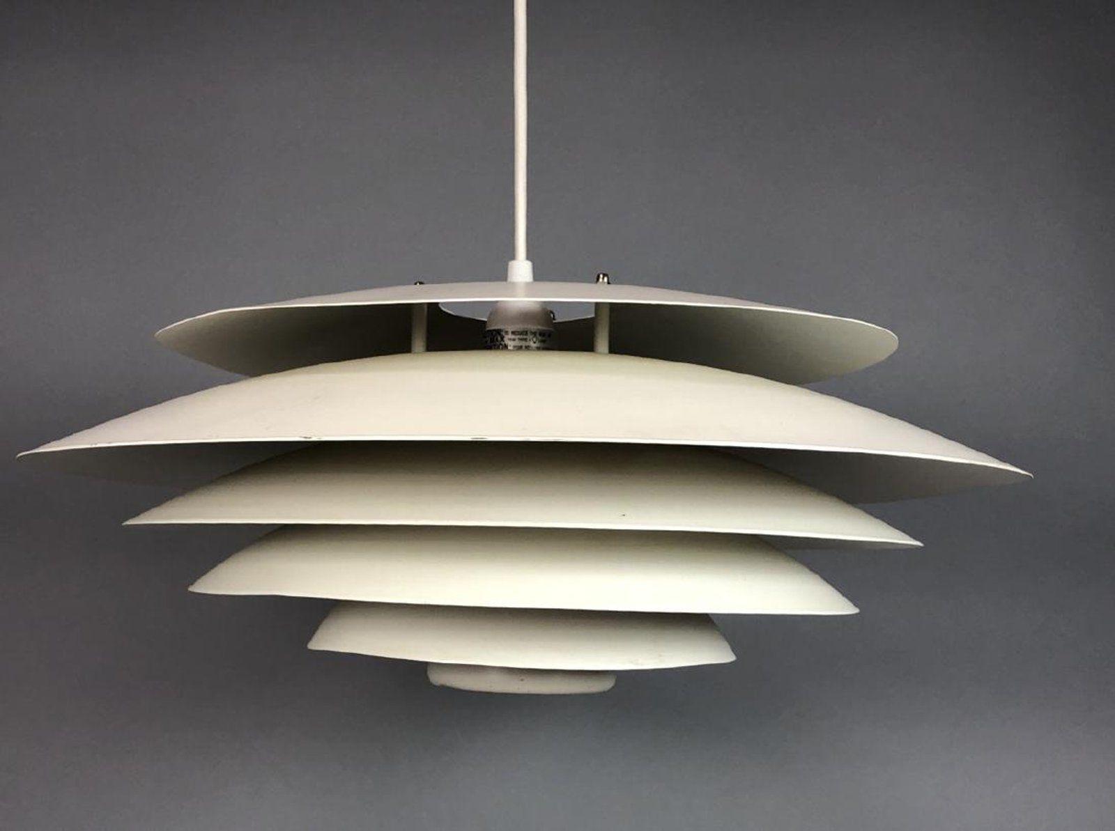 Sold For 275 Mar 2018 Est 100 200 Louis Poulsen Hanging Louver Chandelier Light Fixture White Enameled Metal Not Marked
