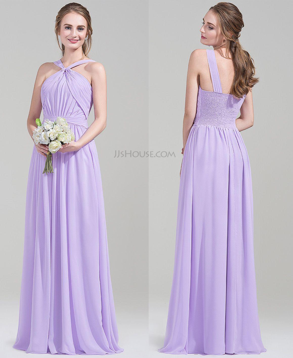 A-Line/Princess V-neck Floor-Length Chiffon Bridesmaid Dress With ...