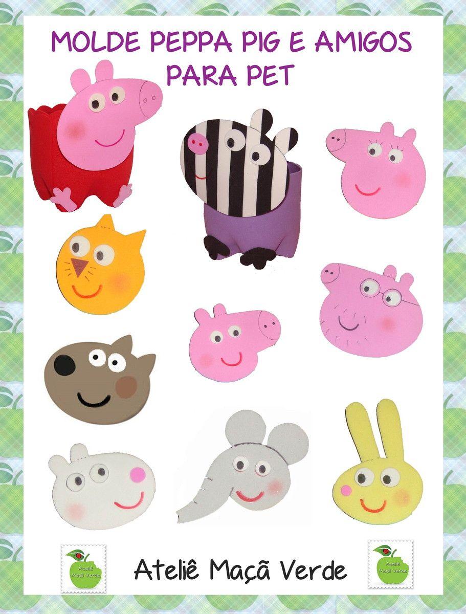 Molde Peppa Pig e amigos para Pet | Ateliê Maçã Verde | Elo7