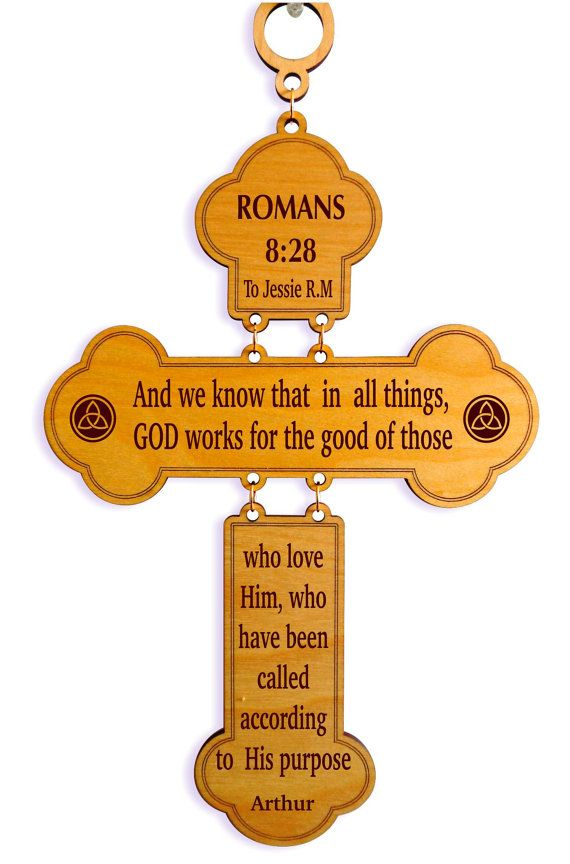 Custom Favorite Bible Verse Wall Accent Romans 828 Decorative Wood Cross Christian Home Decor Spiritual And Inspirational