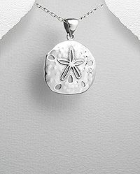 Sterling silver sand dollar pendant with anti tarnish coating sterling silver sand dollar pendant with anti tarnish coating aloadofball Image collections