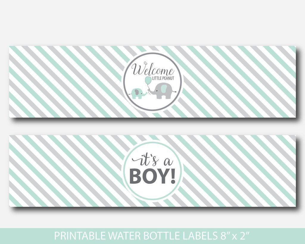 Printable Elephant Water Bottle Labels In Mint Green And