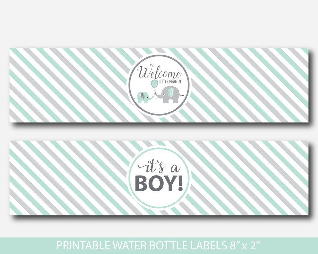 Printable Elephant Water Bottle Labels In Mint Green And Grey Baby Shower Water Bottle Labels