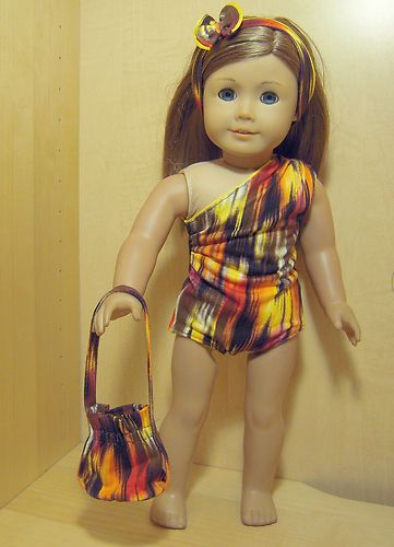 Doll Clothes 4pc Orange Lights Swim Set Skirt Hair Band Bag For American Ebay It Includes Fully Lined Suit Long Cover Up With Real