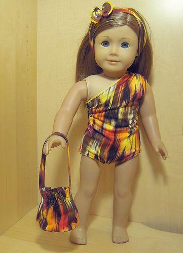 Doll Clothes 4pc Orange Lights Swim Set Skirt Hair Band Bag For American Ebay