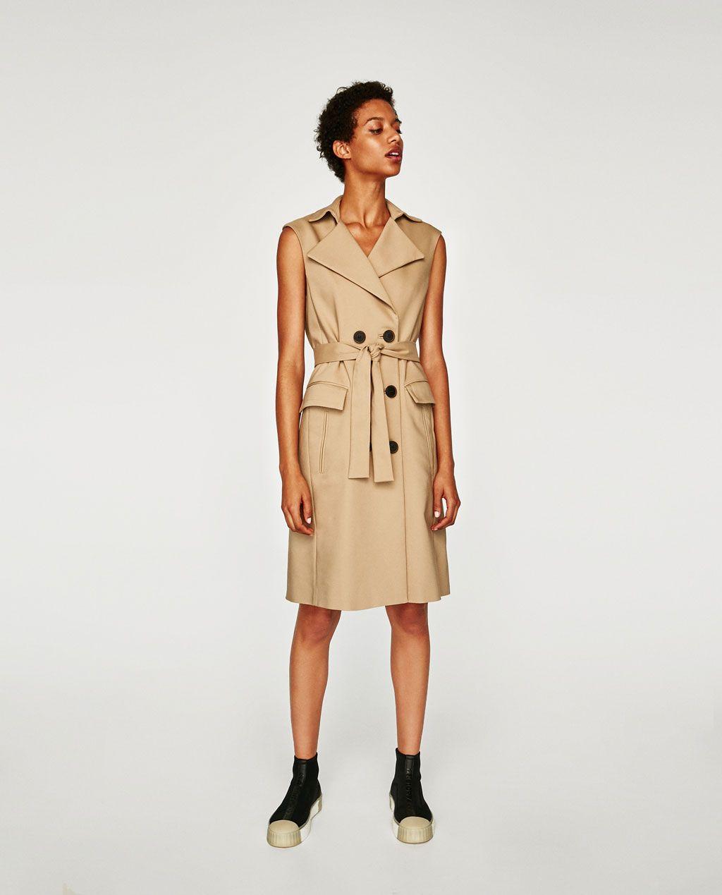 CHALECO VESTIDO DOBLE BOTONADURA  Beige dress outfit, Waistcoat
