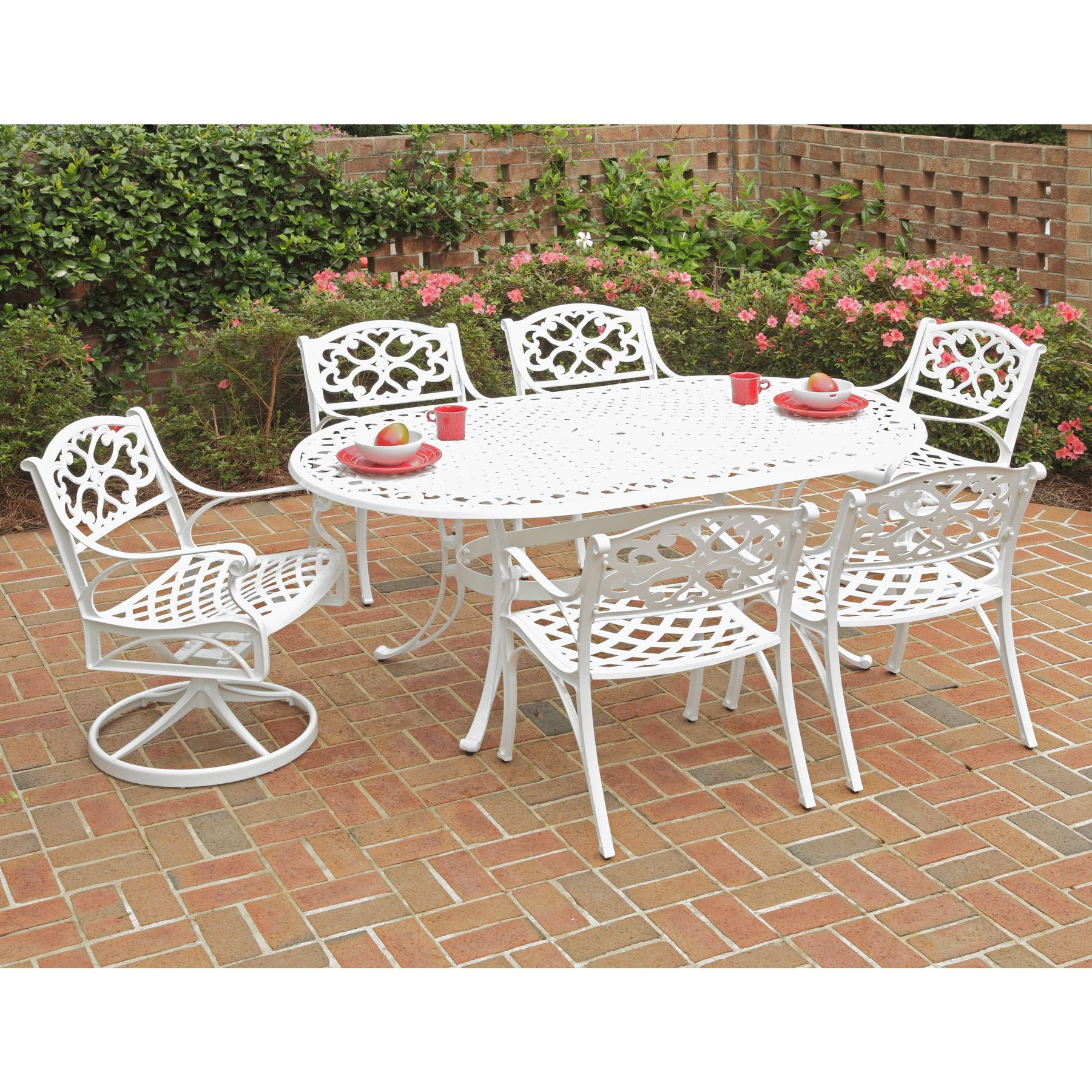 Home Styles Biscayne 7 piece Dining Set 72 Oval Table with Two