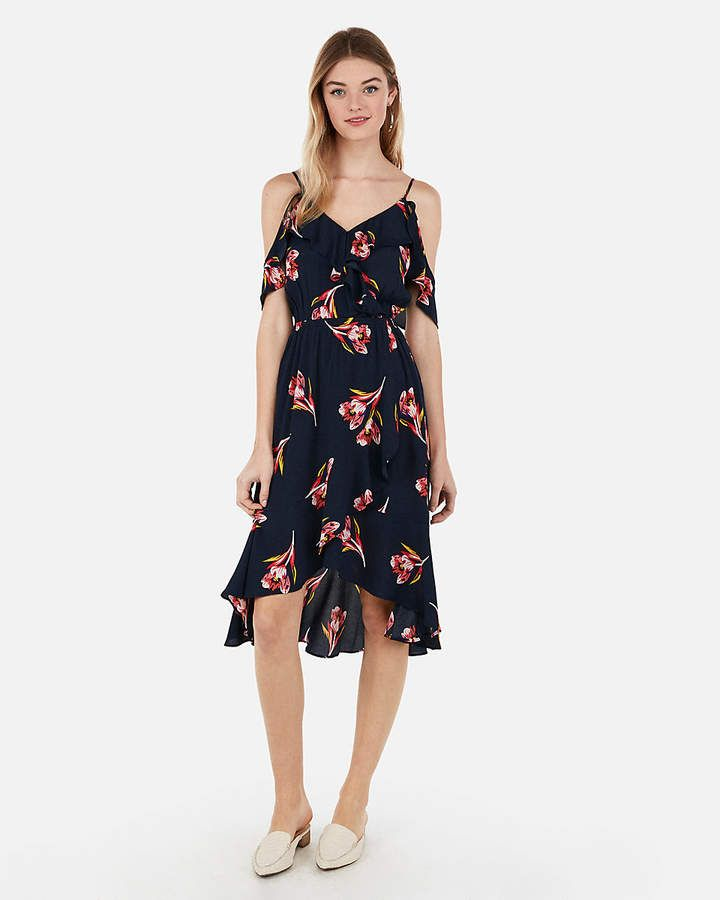 b2fb1eda711f Express Floral Cold Shoulder Ruffle Wrap Midi Dress in 2019 ...