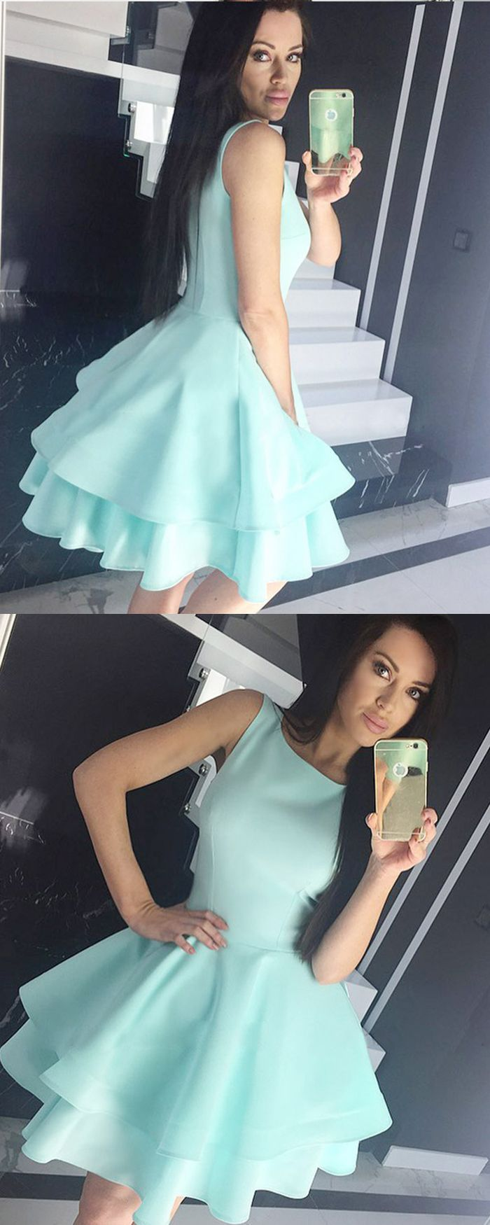 Jewel cyan fit u flare satin homecoming dress with layered skirt