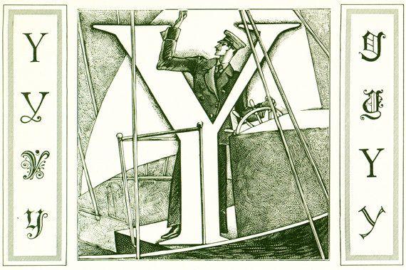 1948 Lettre Y Planche Originale Alphabet Scrapbooking Loisirs