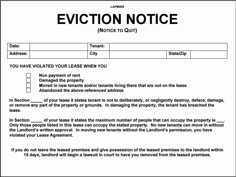 Notice Of Eviction Template Awesome 12 Eviction Notice Template