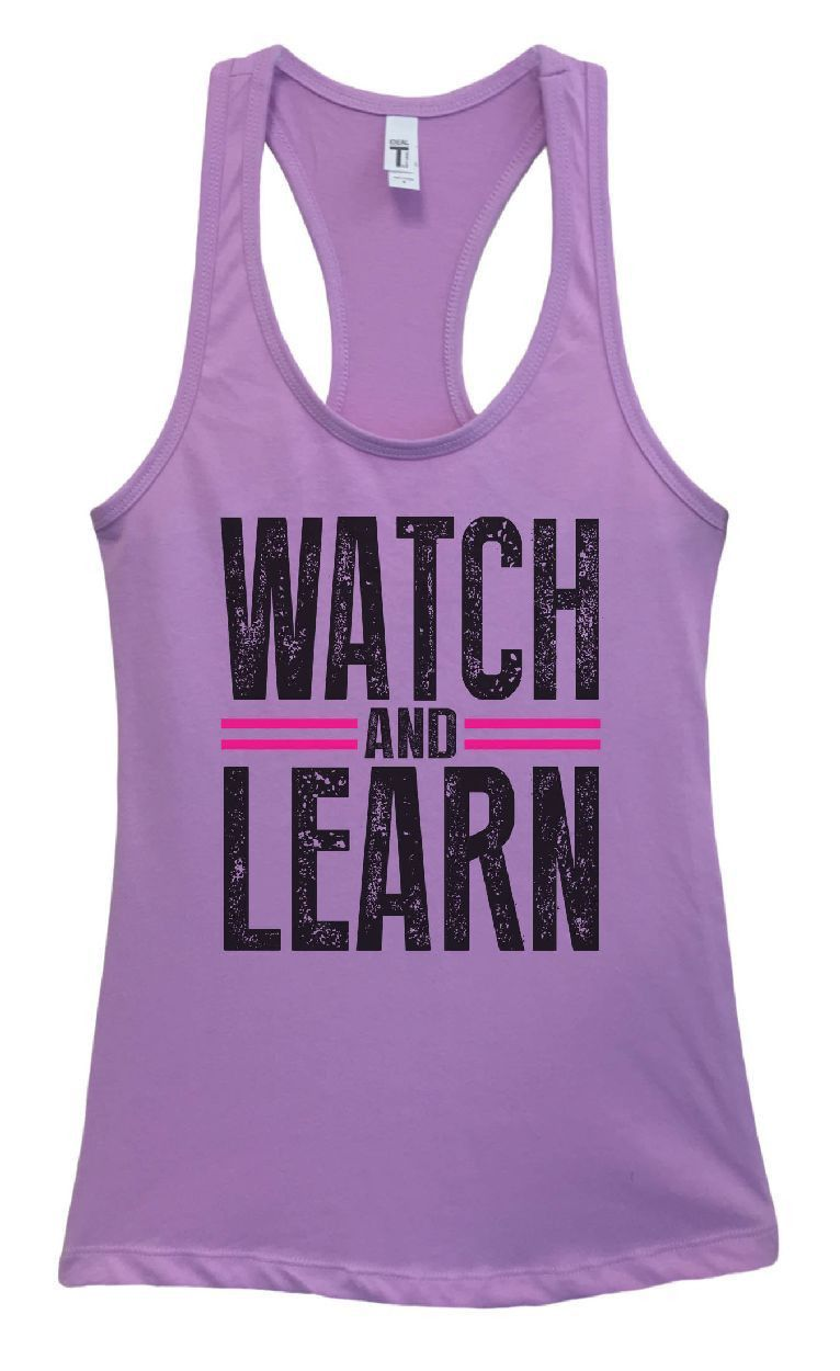 Womens Watch And Learn Grapahic Design Fitted Tank Top