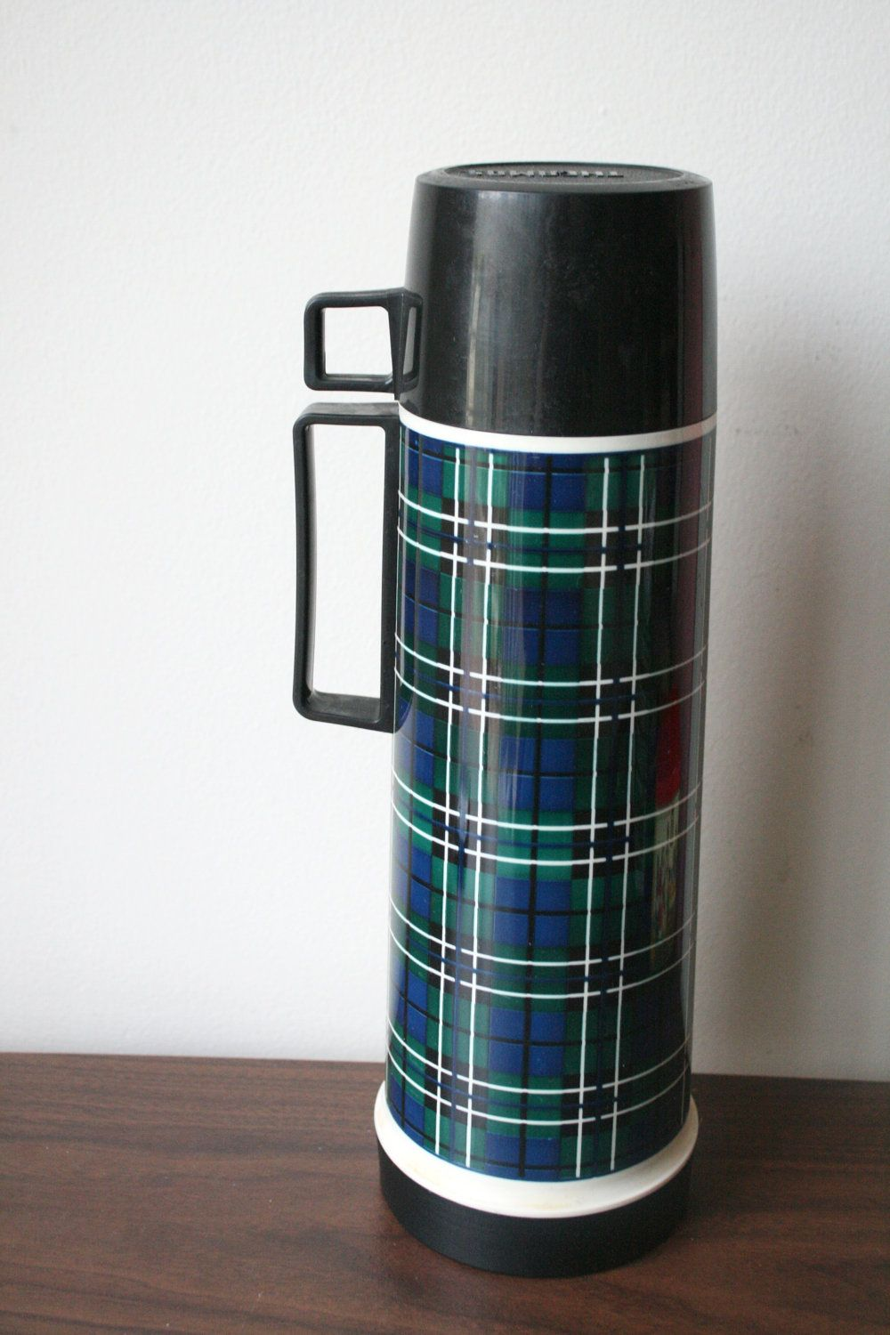 Vintage Navy Blue and Green Tartan Plaid Thermos.
