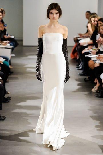 Sleek White Wedding Dress With Black Leather Gloves Vera Wang